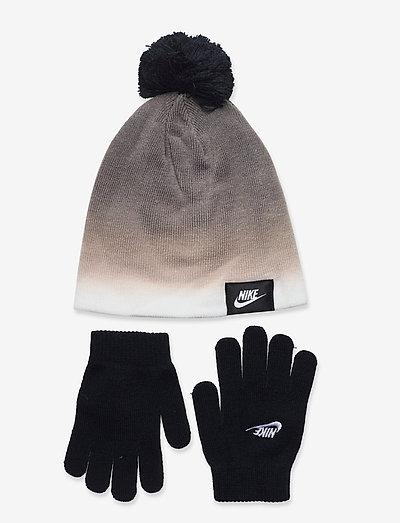 NAN GRADIENT BEANIE/ GLOVE SET - czapki i kapelusze - black(white)