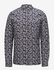 NN07 - Gustav 5018 - chemises de lin - navy print - 0