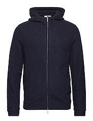 Boiled wool hoodie 6288 - NAVY BLUE