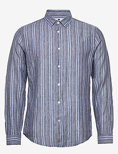 Morgan 5102 - linen shirts - blue stripe
