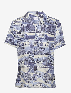 Miyagi Short 5034 - chemises de lin - blue print