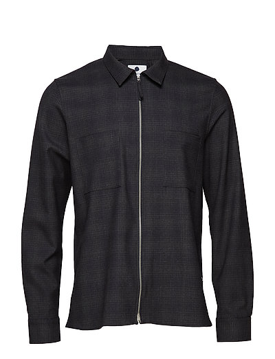 Angus Zip shirt 1317 - NAVY CHECK