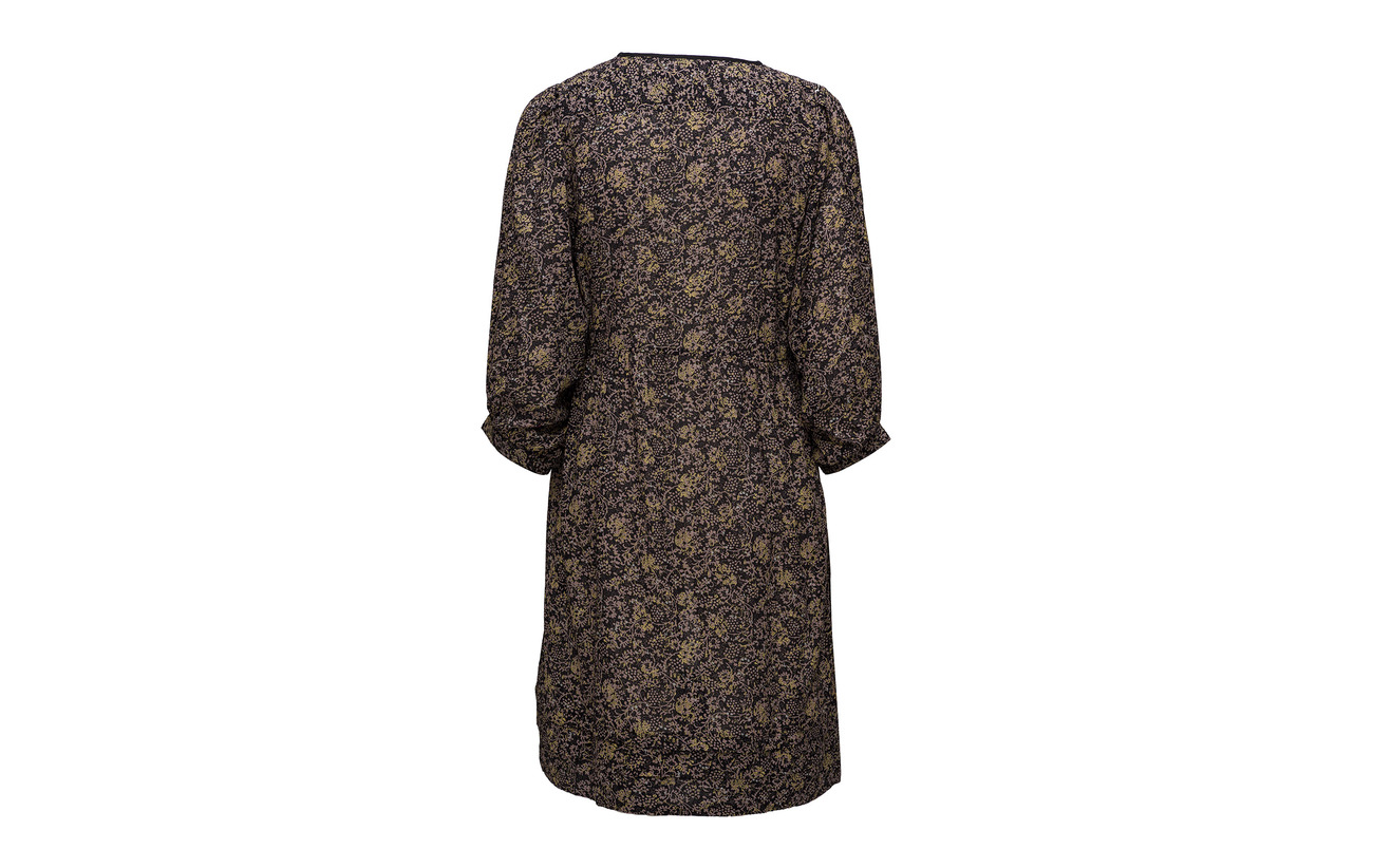 100 Noa Print Long Coton Sleeve Dress Black q11CXwgRx