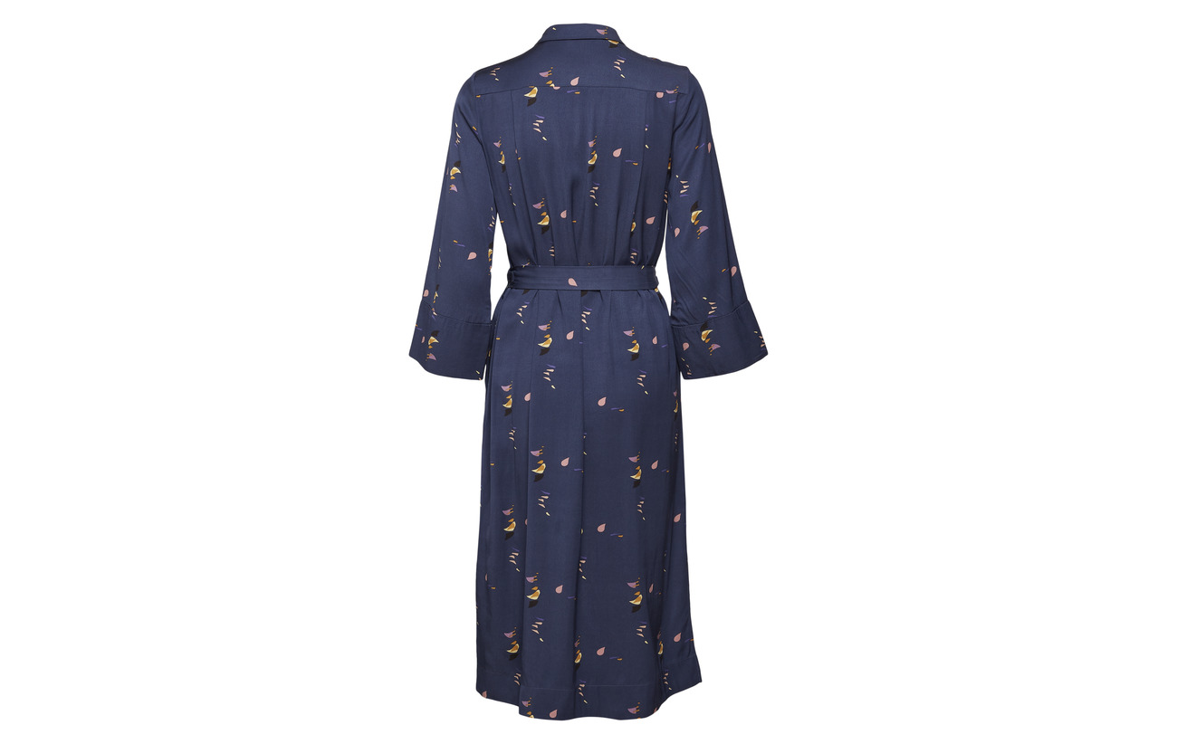 Dress Noa Long Blue 100 Sleeve Viscose Print UxqZxSg