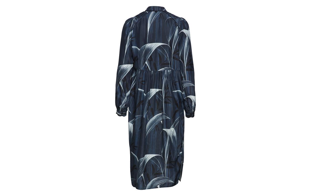 Long Print Noa Sleeve Dress Blue 100 Soie 5Tx1a