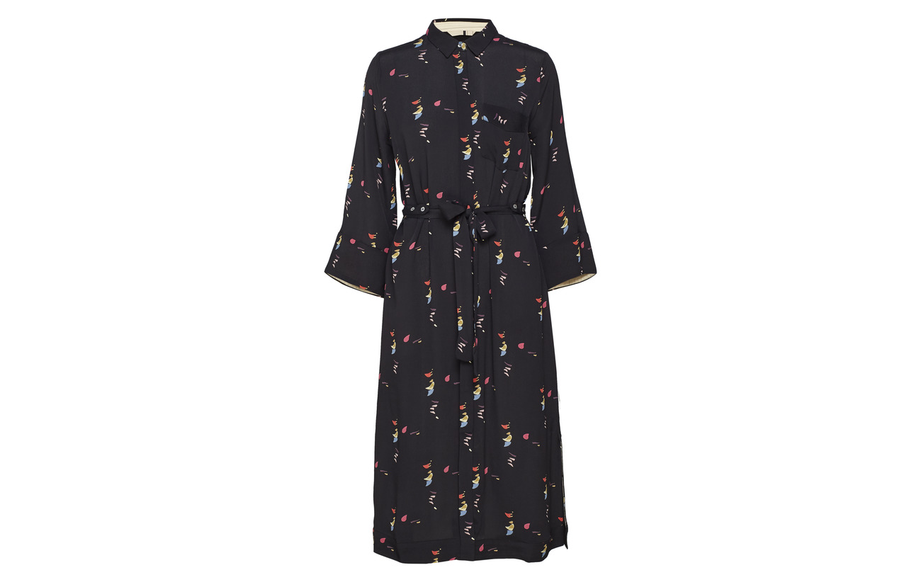Noa Black Dress Long Print Viscose Sleeve 100 rwrIgq0