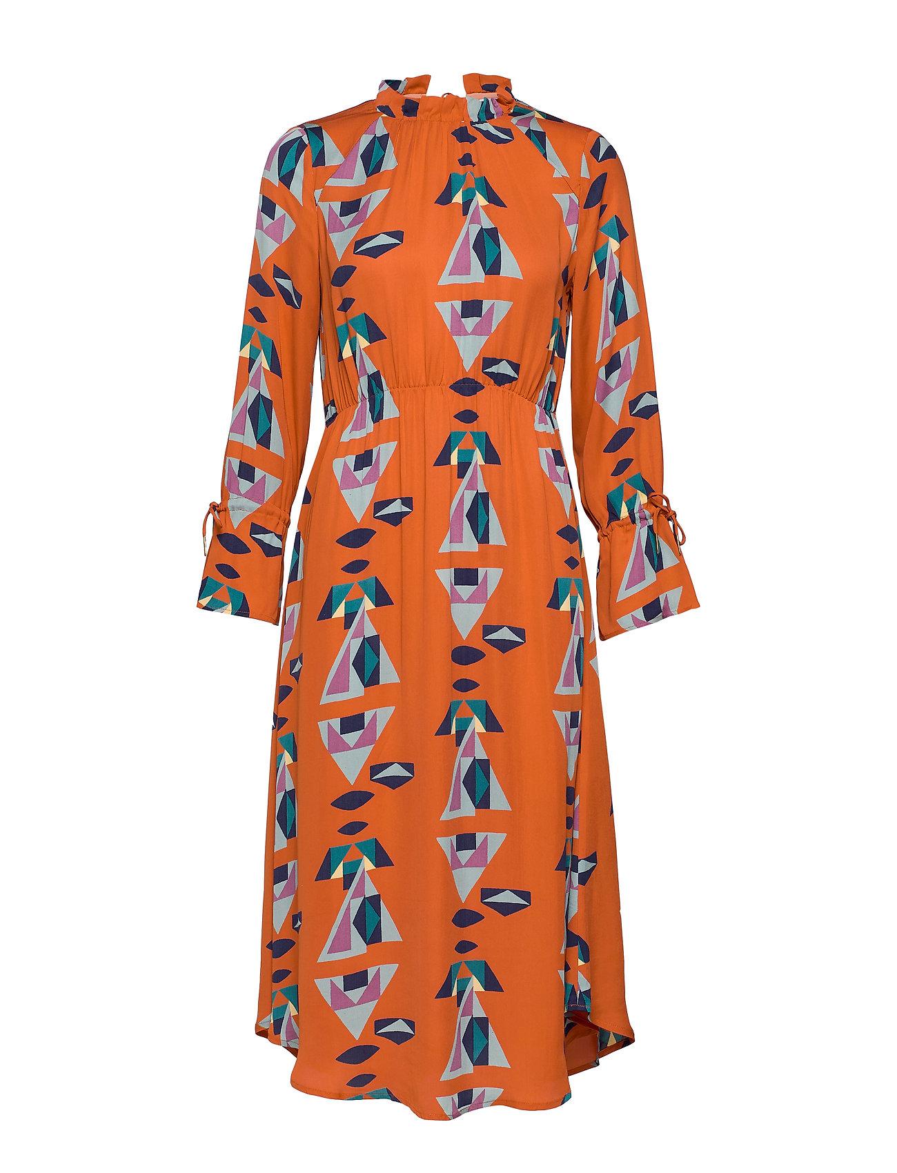 Noa Noa Dress long sleeve - PRINT ORANGE