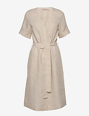 Noa Noa - Dress short sleeve - midi jurken - natural linen - 0