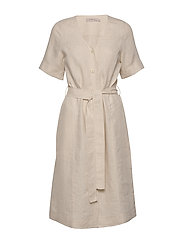 Dress short sleeve - NATURAL LINEN