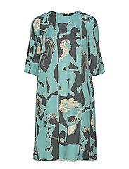 Dress short sleeve - PRINT TURQUOISE