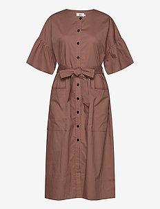 Dress short sleeve - midi jurken - cognac