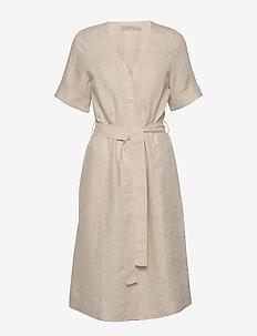 Dress short sleeve - robes midi - natural linen