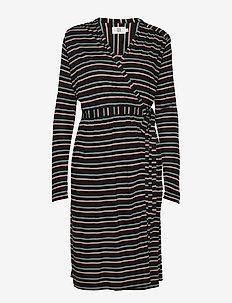 Dress long sleeve - wikkel jurken - art black