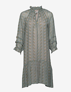 Dress long sleeve - midi jurken - print green