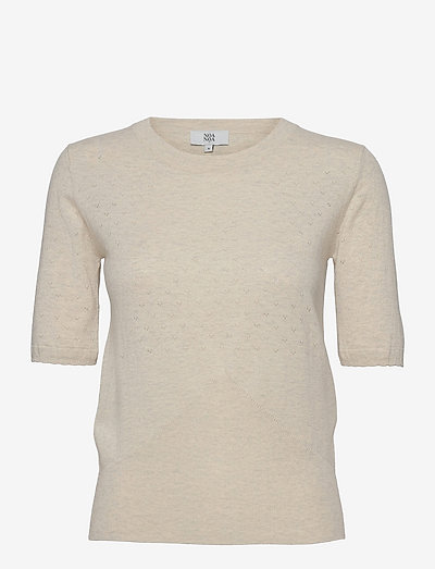 Pullover - t-shirt & tops - light beige melange