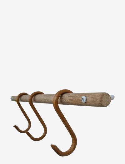 2HangIt + Upgrade leather S-hook (3 pcs) - krokar & hängare - oak/white + natural leather
