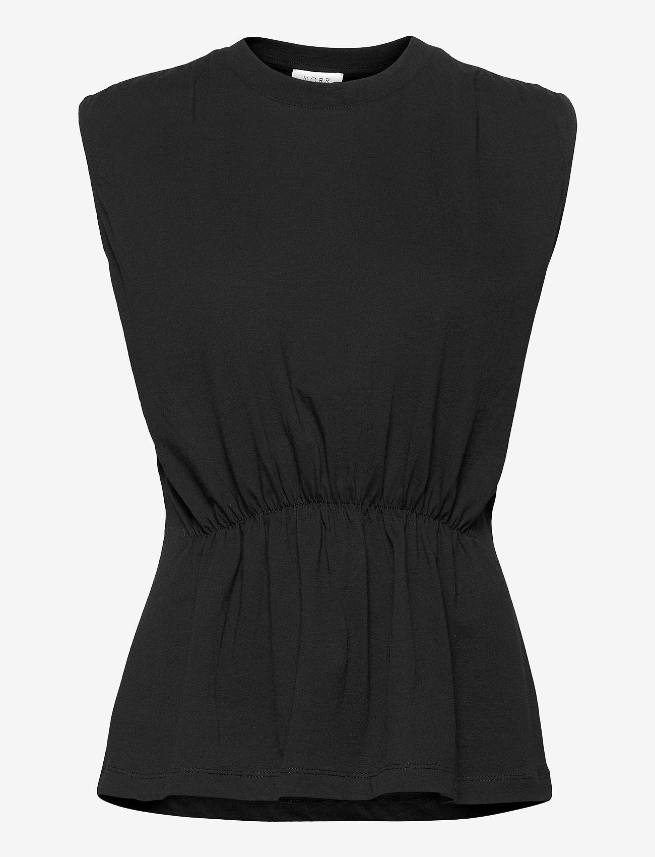 NORR - Augustin top - sleeveless blouses - black - 0
