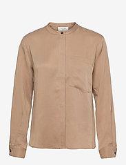 NORR - Jade shirt - langærmede skjorter - beige - 0