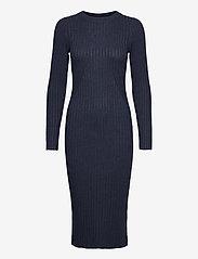 NORR - Karlina o-neck LS dress - sommerkjoler - dark blue melange - 0
