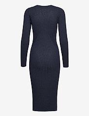 NORR - Karlina o-neck LS dress - sommerkjoler - dark blue melange - 1