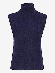 Elisha neck waist coat - stickade västar - dark navy