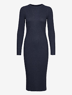 Karlina o-neck LS dress - kotelomekot - dark blue melange