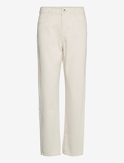 Kenzie slit jeans - straight regular - ecru