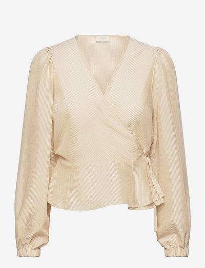 Solna wrap top - blouses à manches longues - off-white stripe