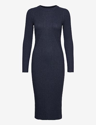 Karlina o-neck LS dress - robes d'été - dark blue melange