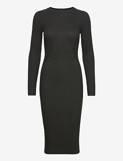 Karlina o-neck LS dress - robes d'été - dark grey melange