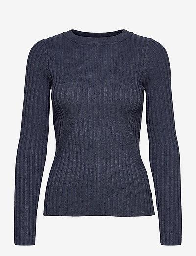 Karlina o-neck LS top - pulls - dark blue melange
