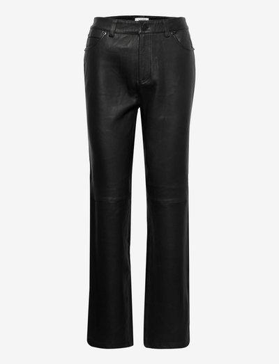 Nia leather pants - pantalons en cuir - black