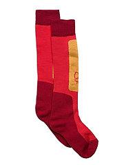 lofoten mid weight Merino Socks long - CRISP RUBY