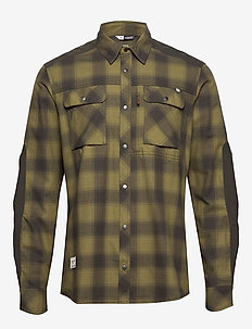 svalbard flannel Shirt (M) - checkered shirts - olive drab/slate grey