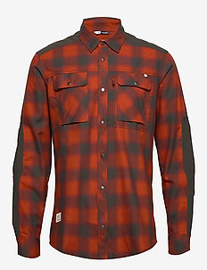svalbard flannel Shirt (M) - checkered shirts - rooibos tea/slate grey