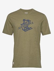 svalbard wool T-Shirt (M) - topy sportowe - olive drab