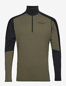 equaliser merino Zip Neck M's - base layer tops - olive night/foliage