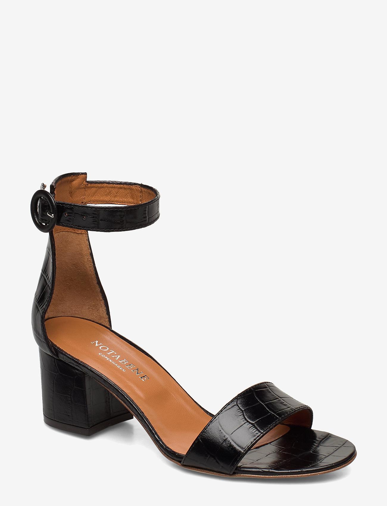 NOTABENE - Lia - høyhælte sandaler - black croco leather - 0