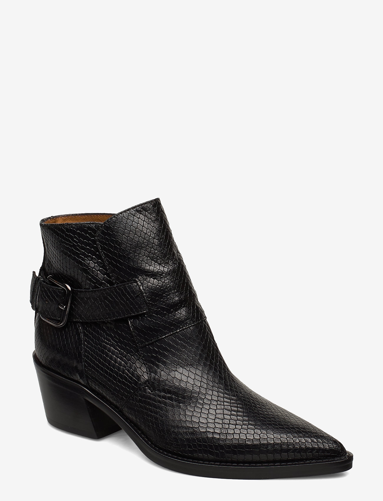 NOTABENE - Aila - ankelstøvletter med hæl - black snake leather - 0
