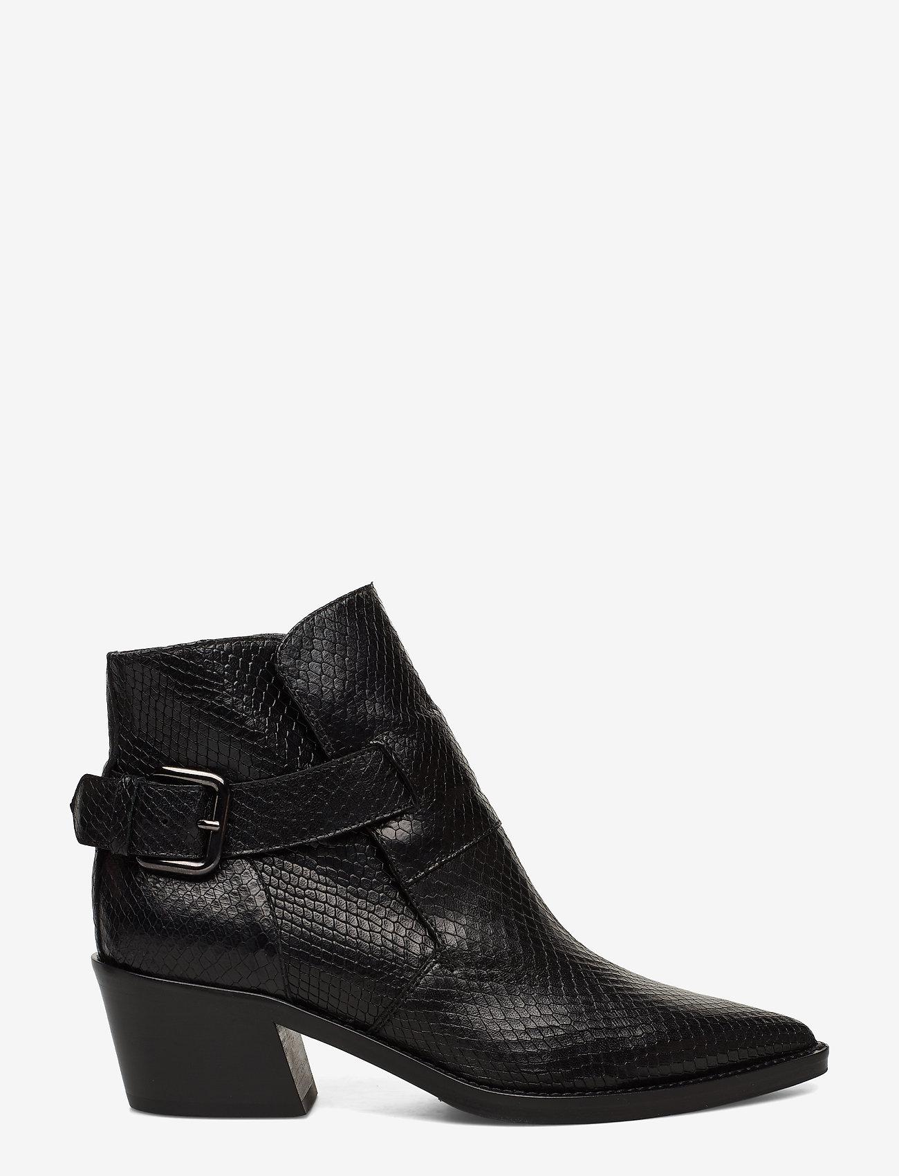 NOTABENE - Aila - ankelstøvletter med hæl - black snake leather - 1