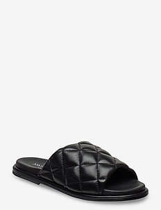 Rida - flate sandaler - black leather
