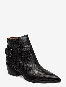 Aila - ankelstøvletter med hæl - black snake leather
