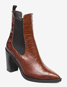 Karen - ankelstøvletter med hæl - brown croco leather