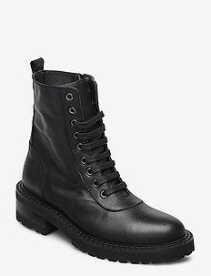 Ronja - flate ankelstøvletter - black leather
