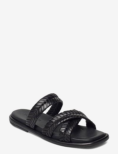 Angela - flate sandaler - black leather