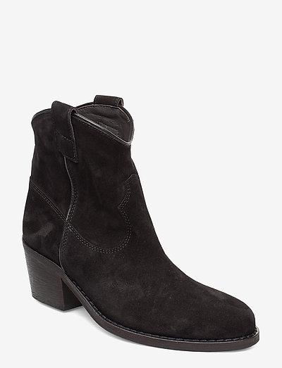 Anna - ankelstøvler med hæl - black suede