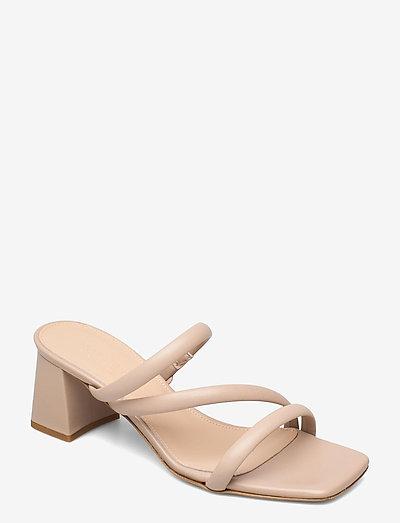 Gisele - høyhælte sandaler - beige leather
