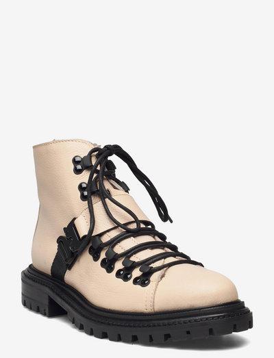 Froste - flade ankelstøvler - white leather