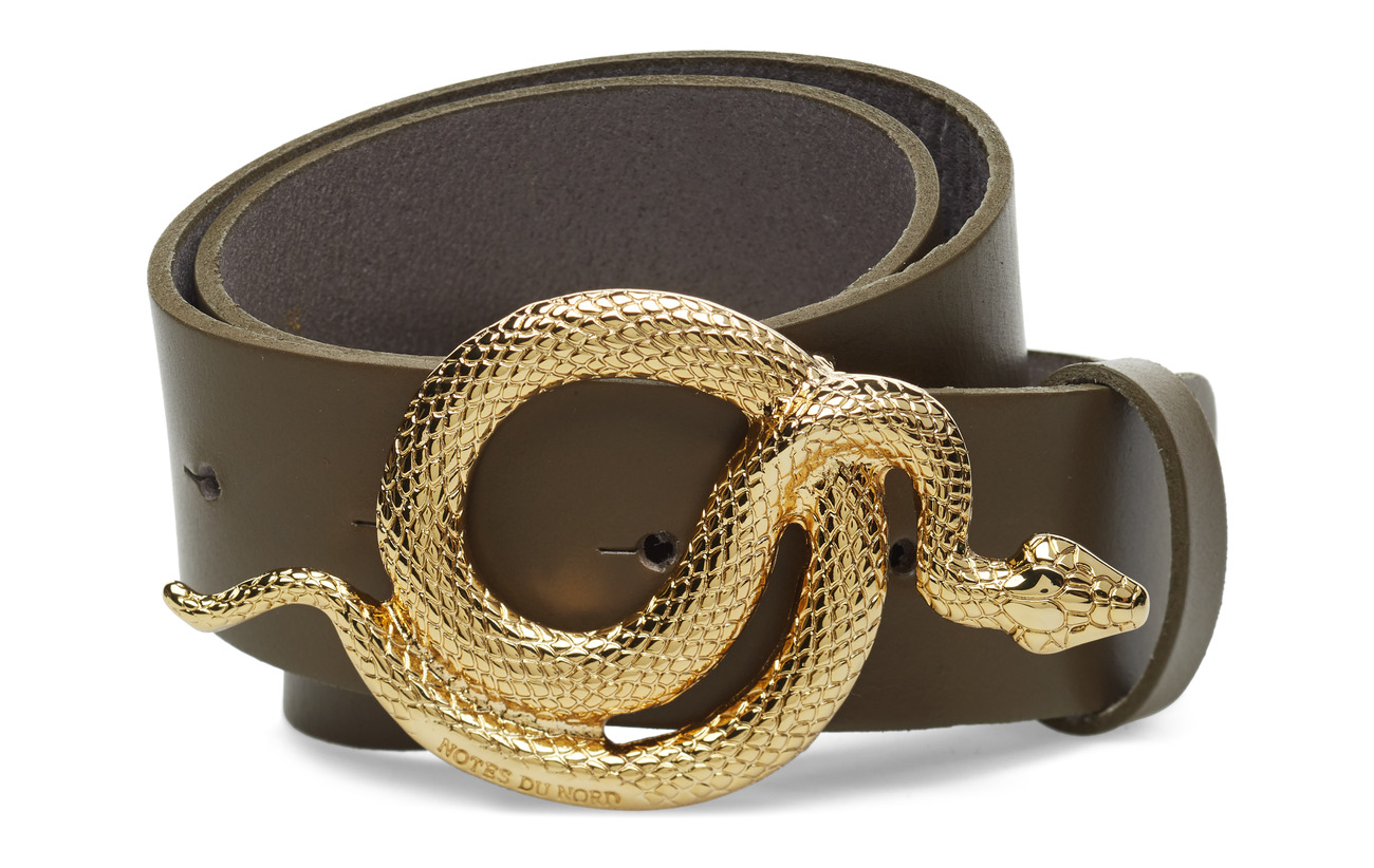 Notes du Nord Milo Leather Belt - ARMY/GOLD