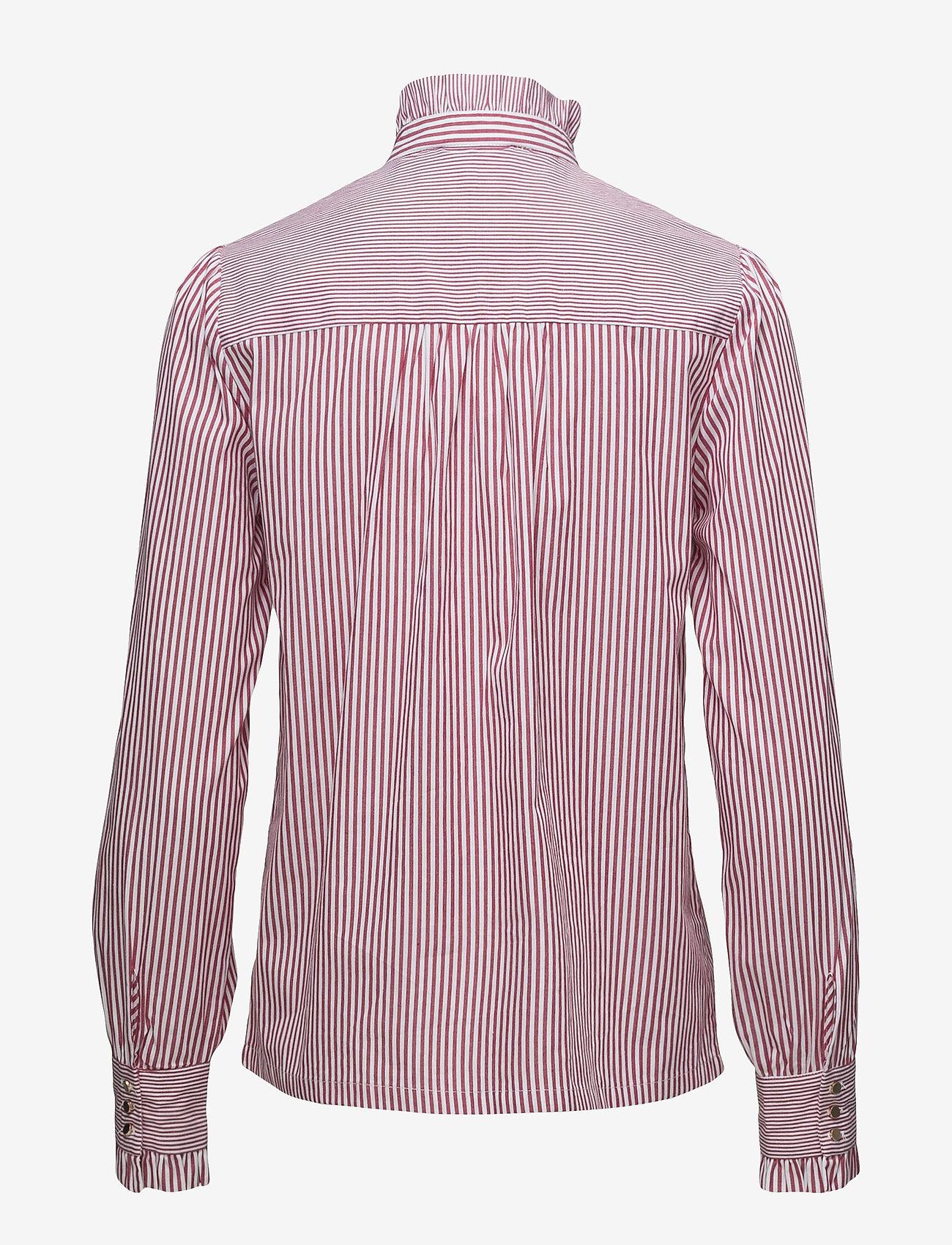 Notes du Nord - Item Ruffle Shirt - blouses à manches longues - bordeaux stripe